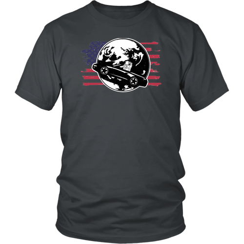 American Car In Space Don't Panic Shirt
