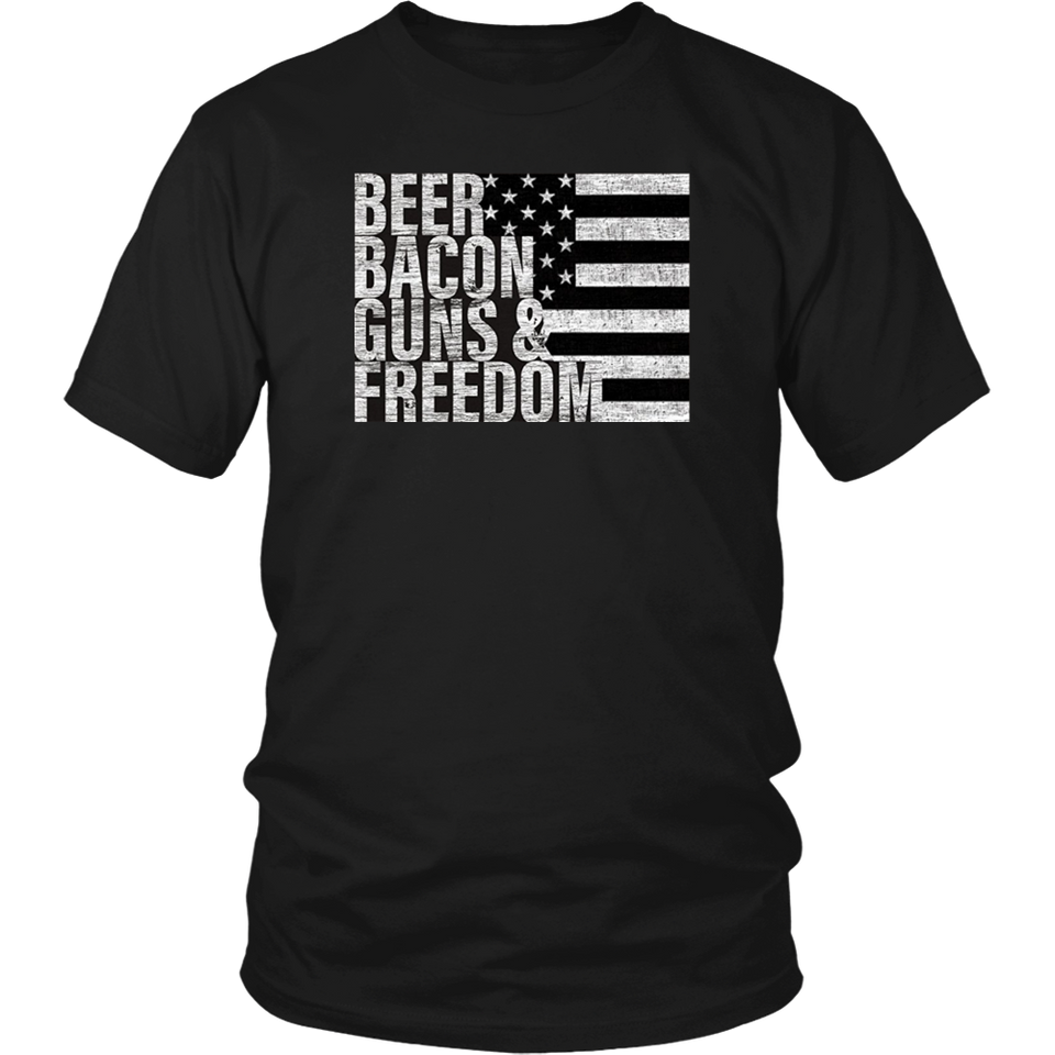 Beer Bacon Guns & Freedom T-shirt Flag Tee