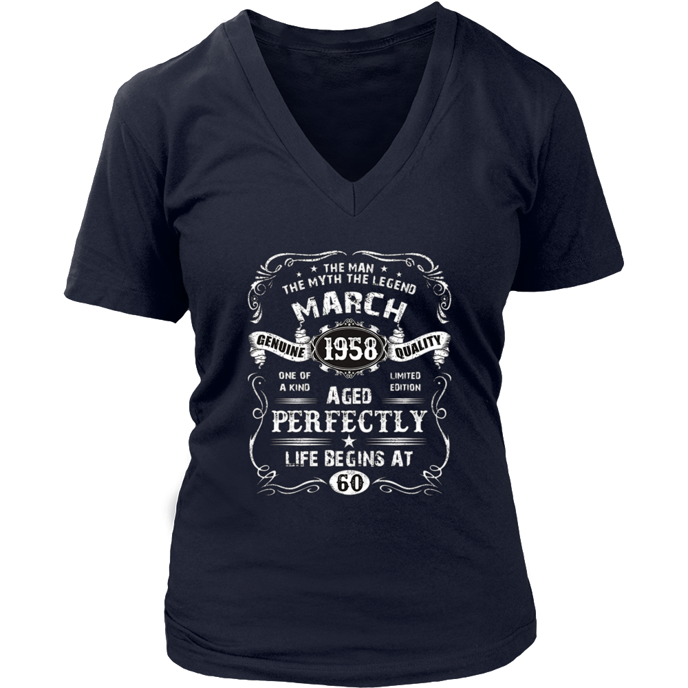 Mens March 60th Birthday T-Shirt 1958 Legend-Life Begins Tee