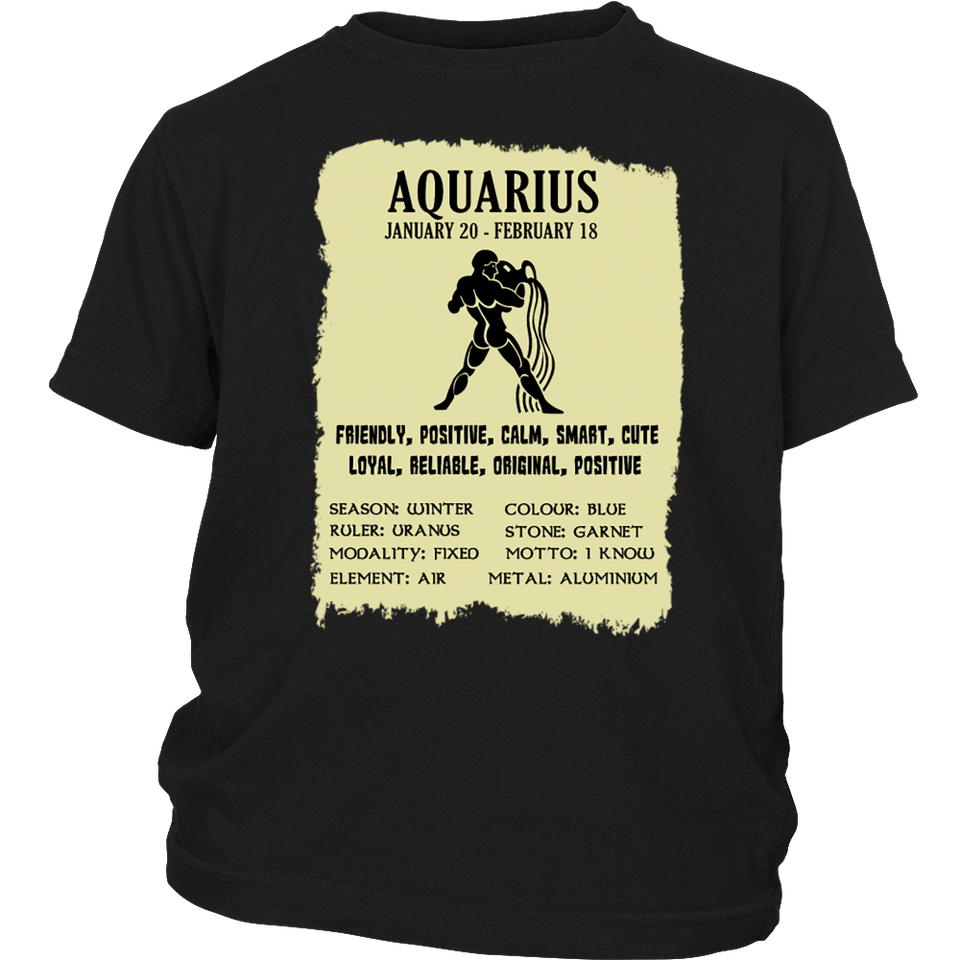 Aquarius Zodiac Cool Gift- Aquarian Description T-Shirt - Bornmay