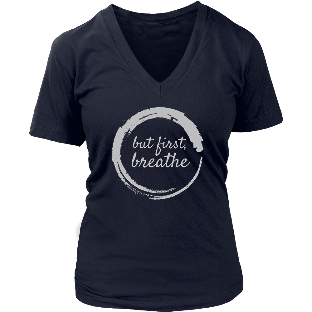 But First Breathe Zen Yoga T-Shirt Dark Colors