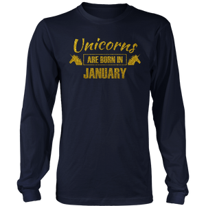 unicorns are born in january - gold glitter bday