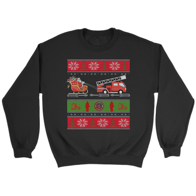 Ugly Christmas Fire Engine Fire Truck Fighter Shirt