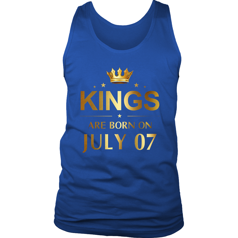 Mens Kings Are Born On July 07 - Birthday T-shirt