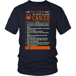 Top 10 Signs To Spot True Cancer Zodiac Tshirt