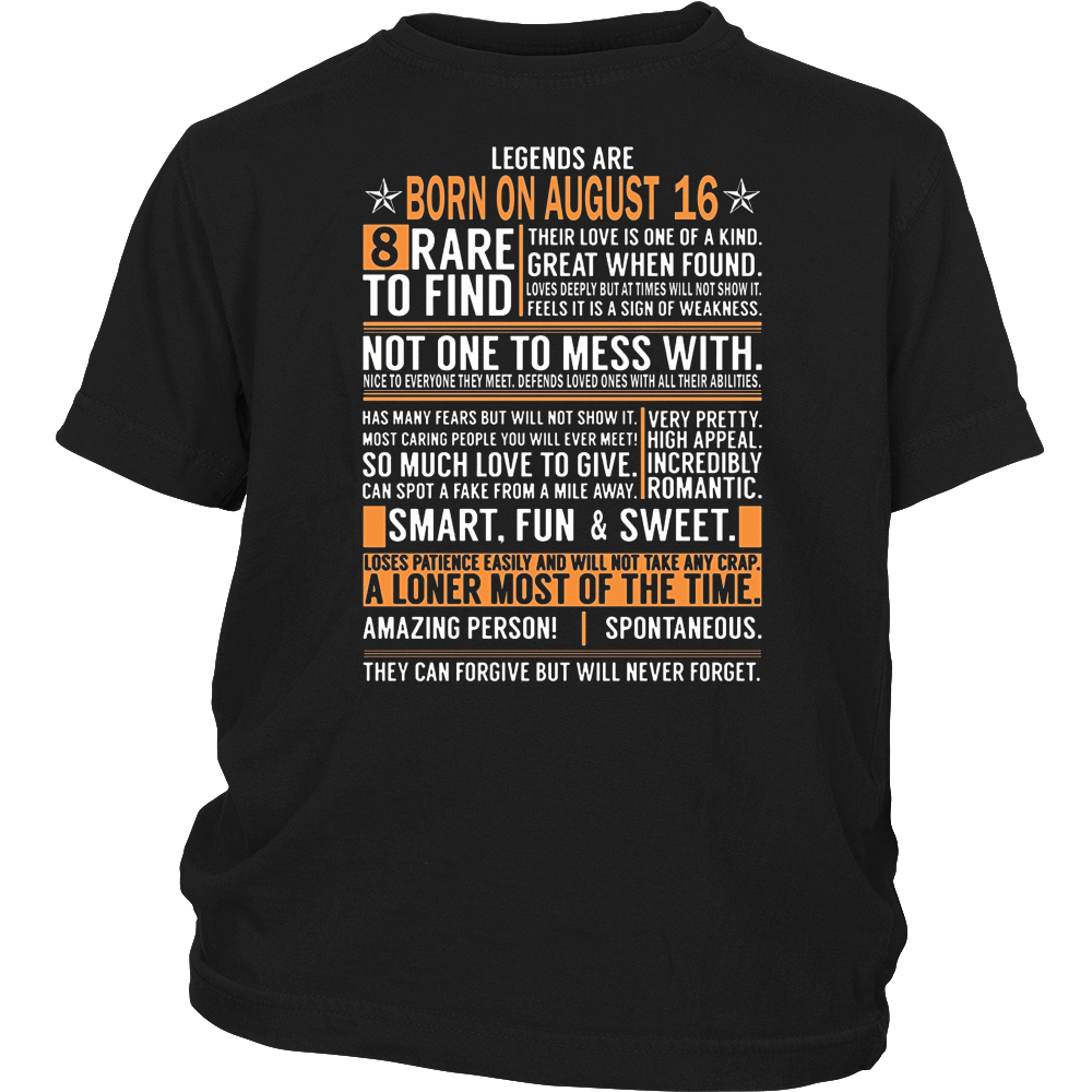 Legends Are Born On August 16 Birthday Gift Shirt
