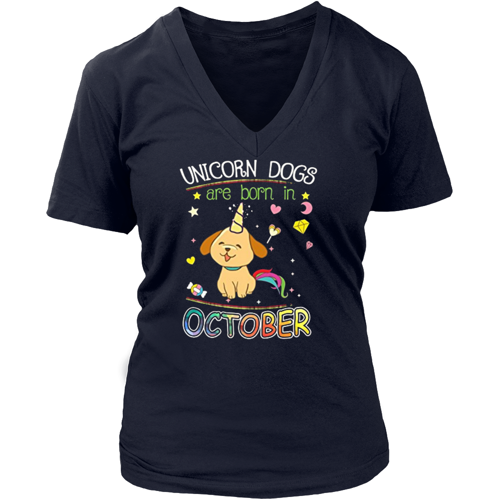 Unicorn Dogs Are Born In October Birthday Tshirt Hoodie Gifts