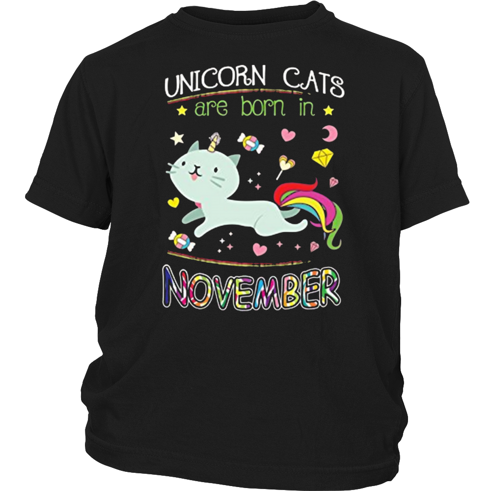 Unicorn Cats Are Born In November Birthday Tshirt