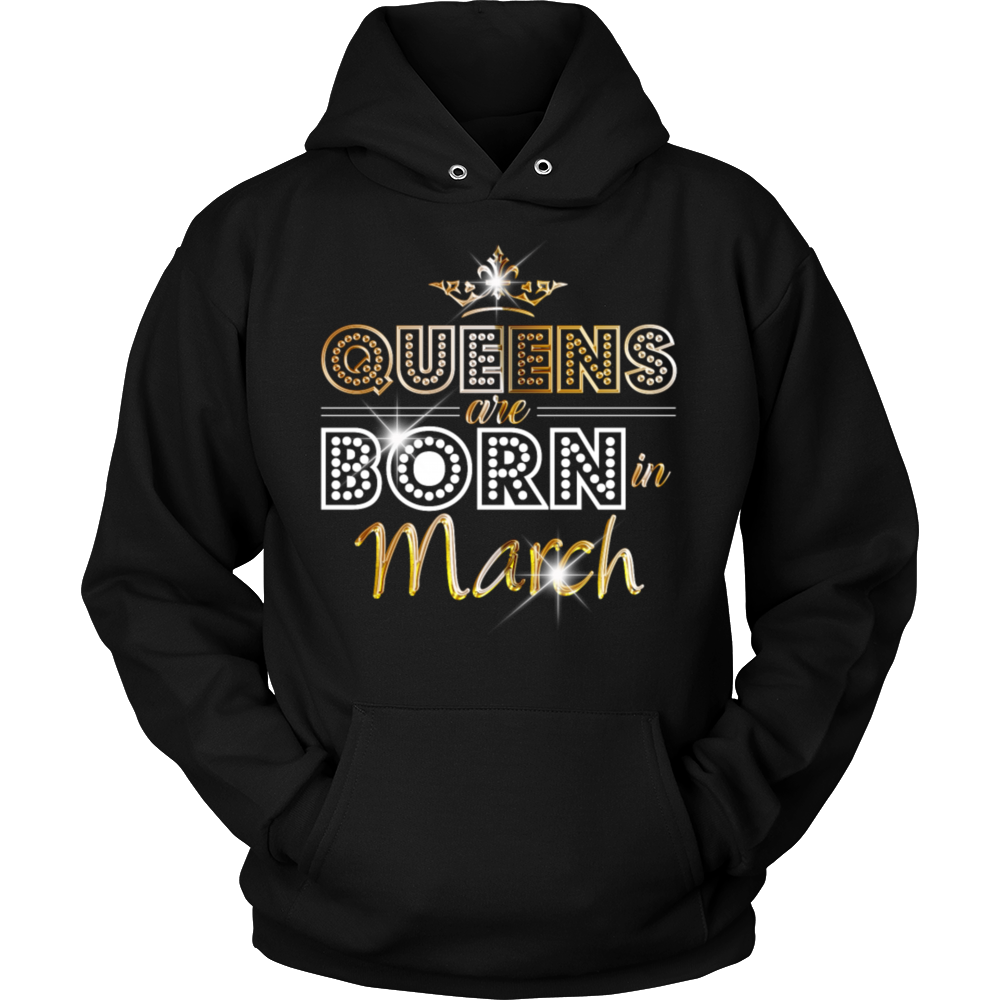 Queens are born in March T Shirt - Gold
