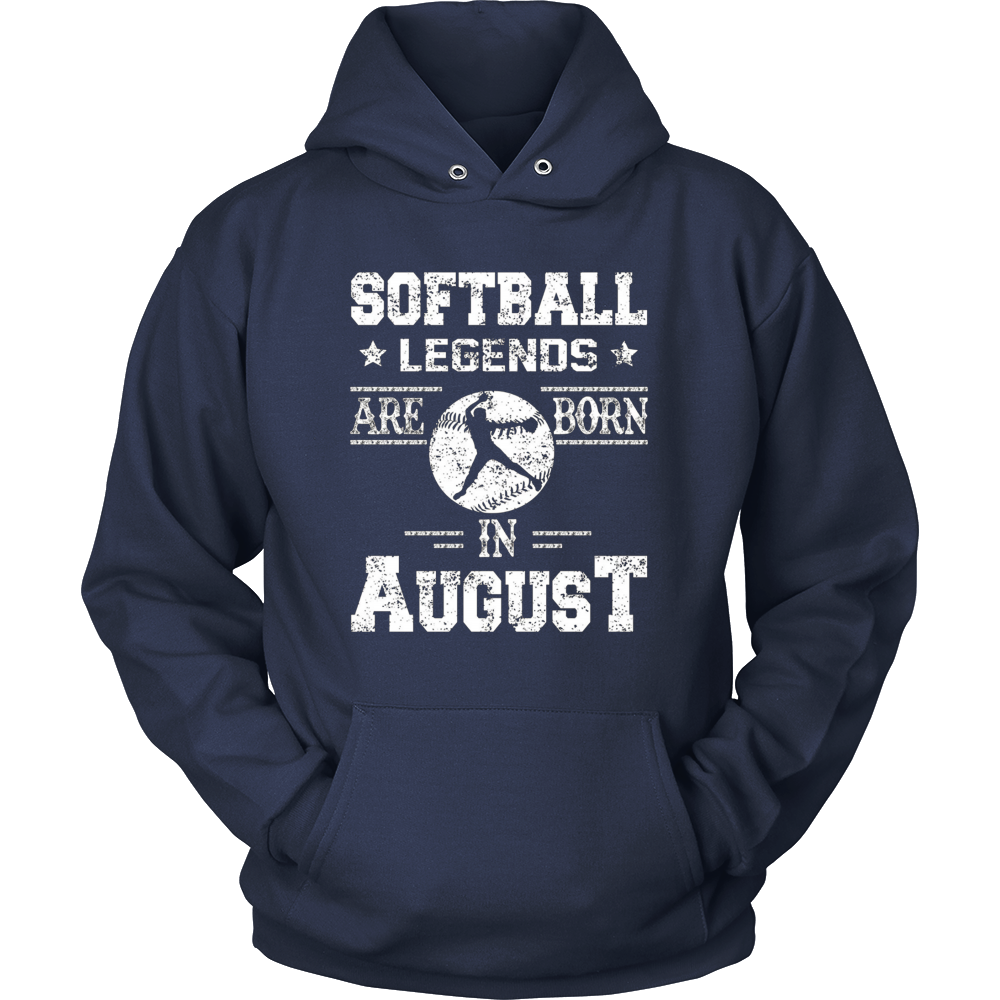 Softball Legends Are Born In August Birthday Gift T-shirt
