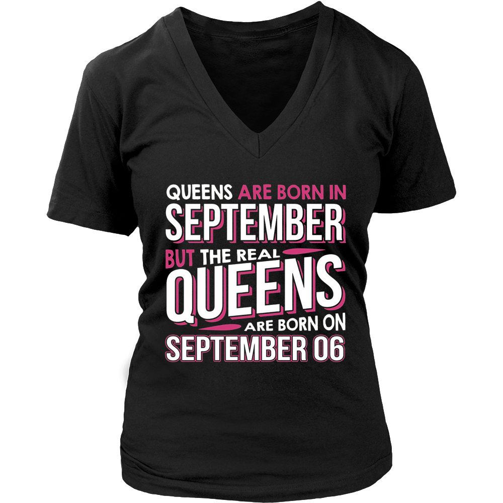 Real Queens Are Born On September 06 T-shirt 6th Birthday