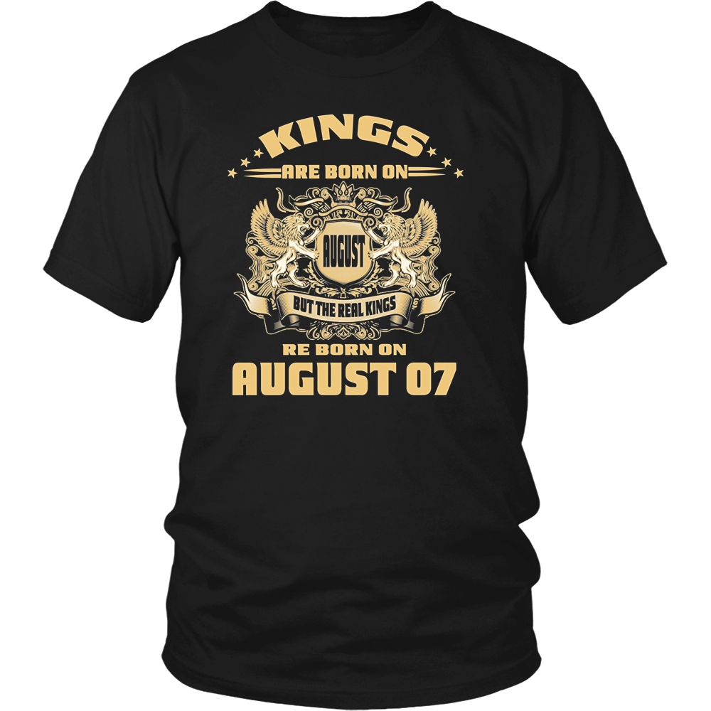 Mens Kings Are Born on August 07 Birthday T Shirt