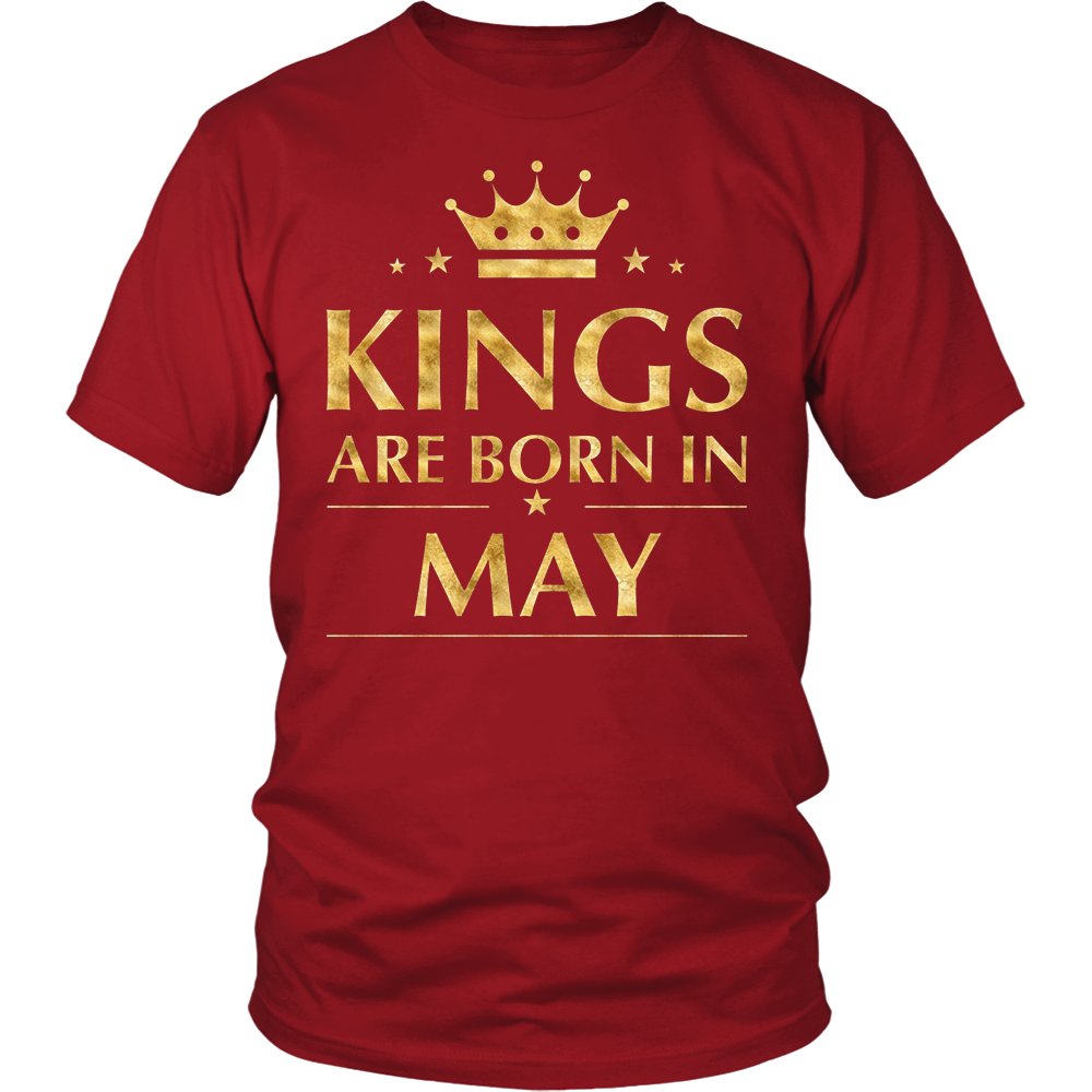 Men's Kings are born in May T-Shirt Gold Foil Edition Shirt