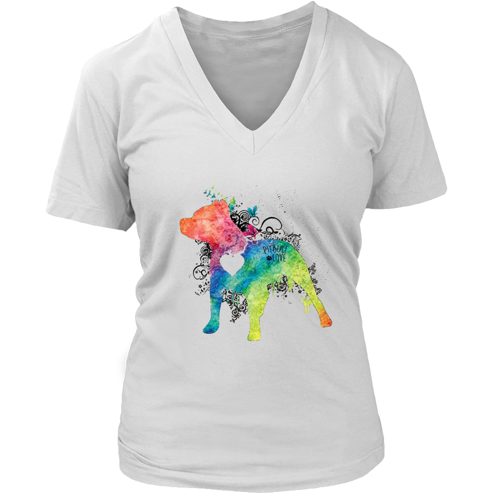 Pitbull Love Watercolor Zen T-Shirt - Pit bull Tee Shirt