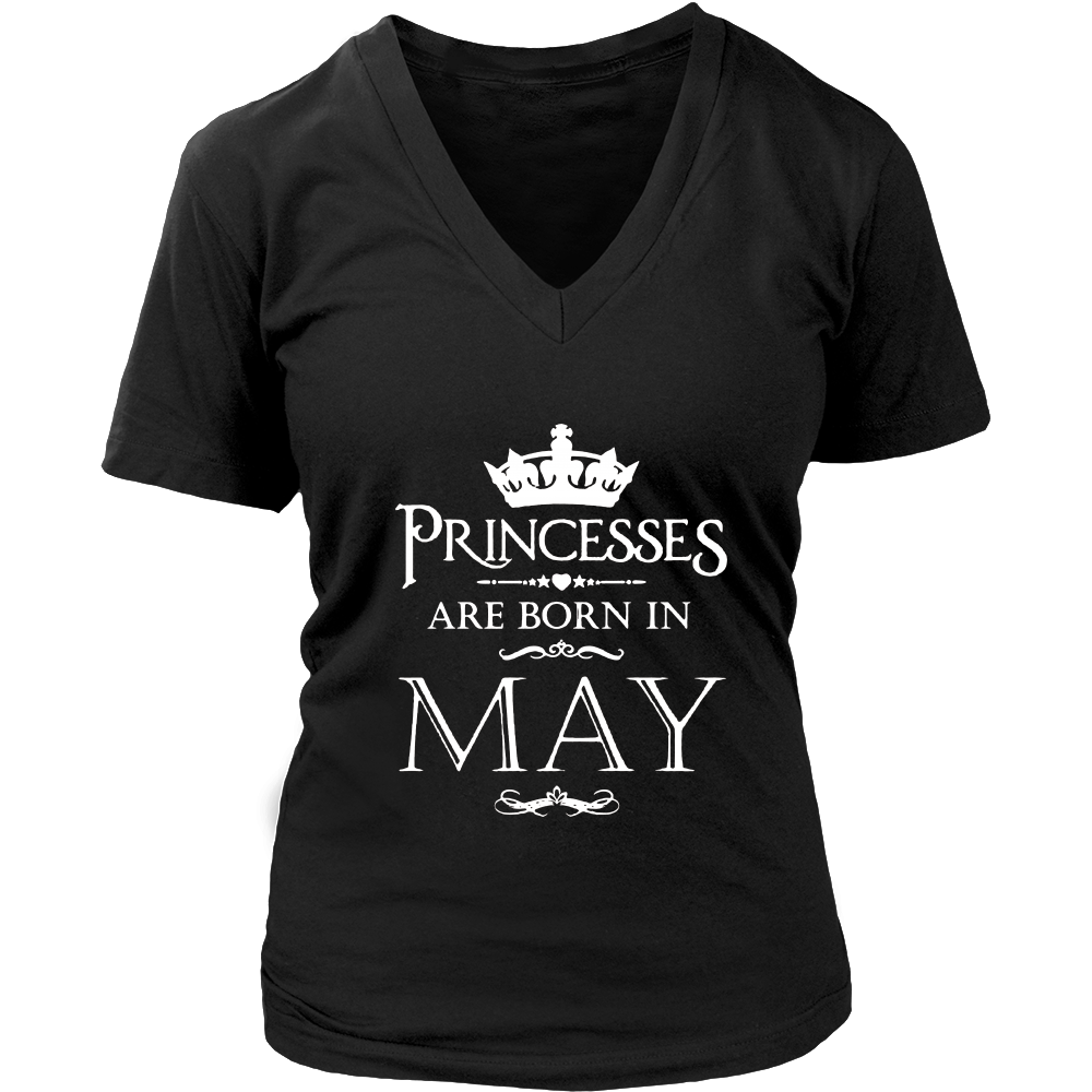 Women's Queens are Born in May Womens Birthday Princess T-Shirt