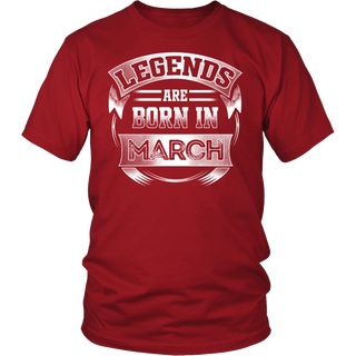 MEN'S LEGENDS ARE BORN IN MARCH T SHIRT BIRTHDAY GIFT