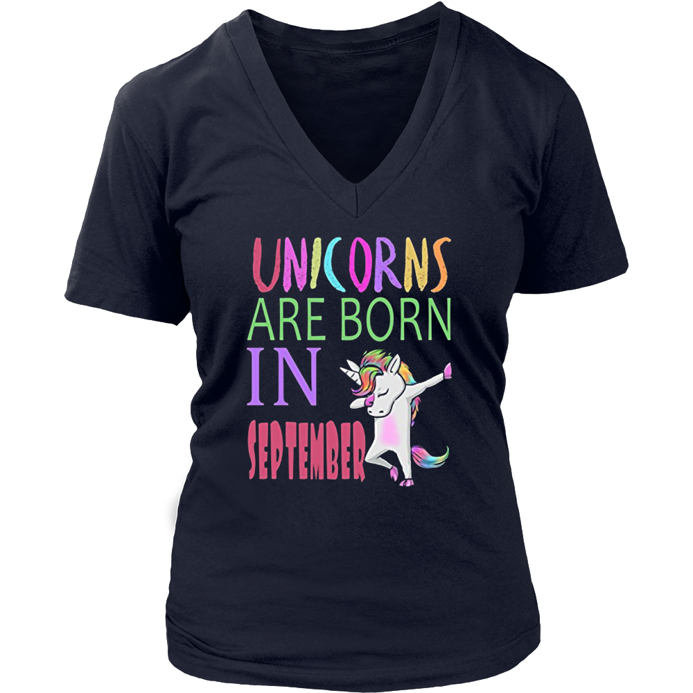 Unicorns are born in September birthday unicorn dab tshirt