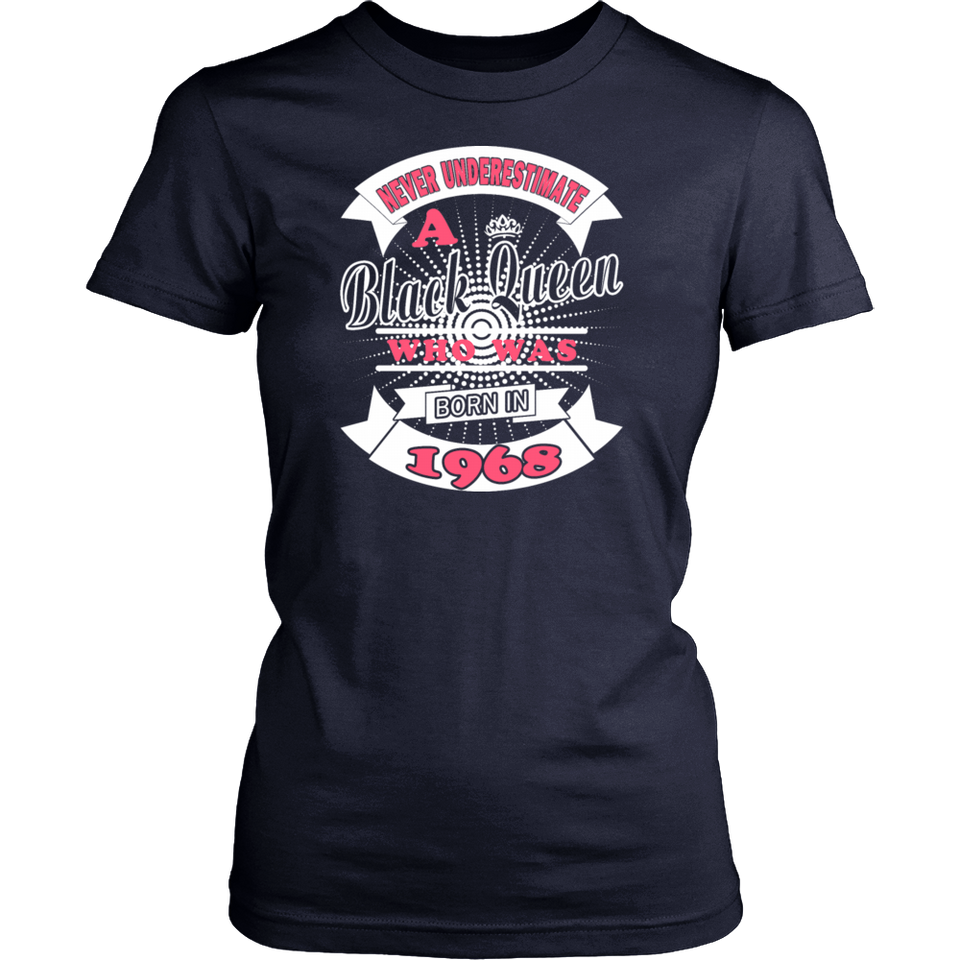 Black Queens Born in 1968 Funny Birthday T-Shirt