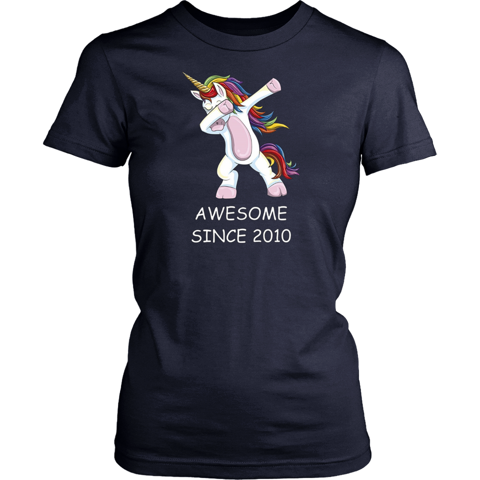 Awesome Since 2010 - Dabbing Unicorn 7th Birthday T-Shirt Hoodie - Tank-Top