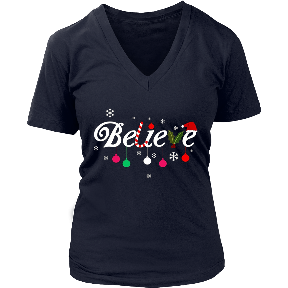 Believe Christmas Santa Holidays For Kids Adults Tshirt