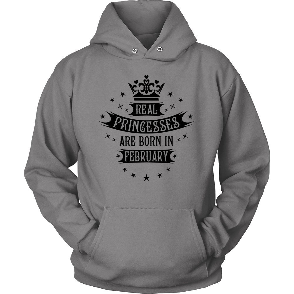 02 Real Princesses are born in February Princess Hoodie Tank-Top