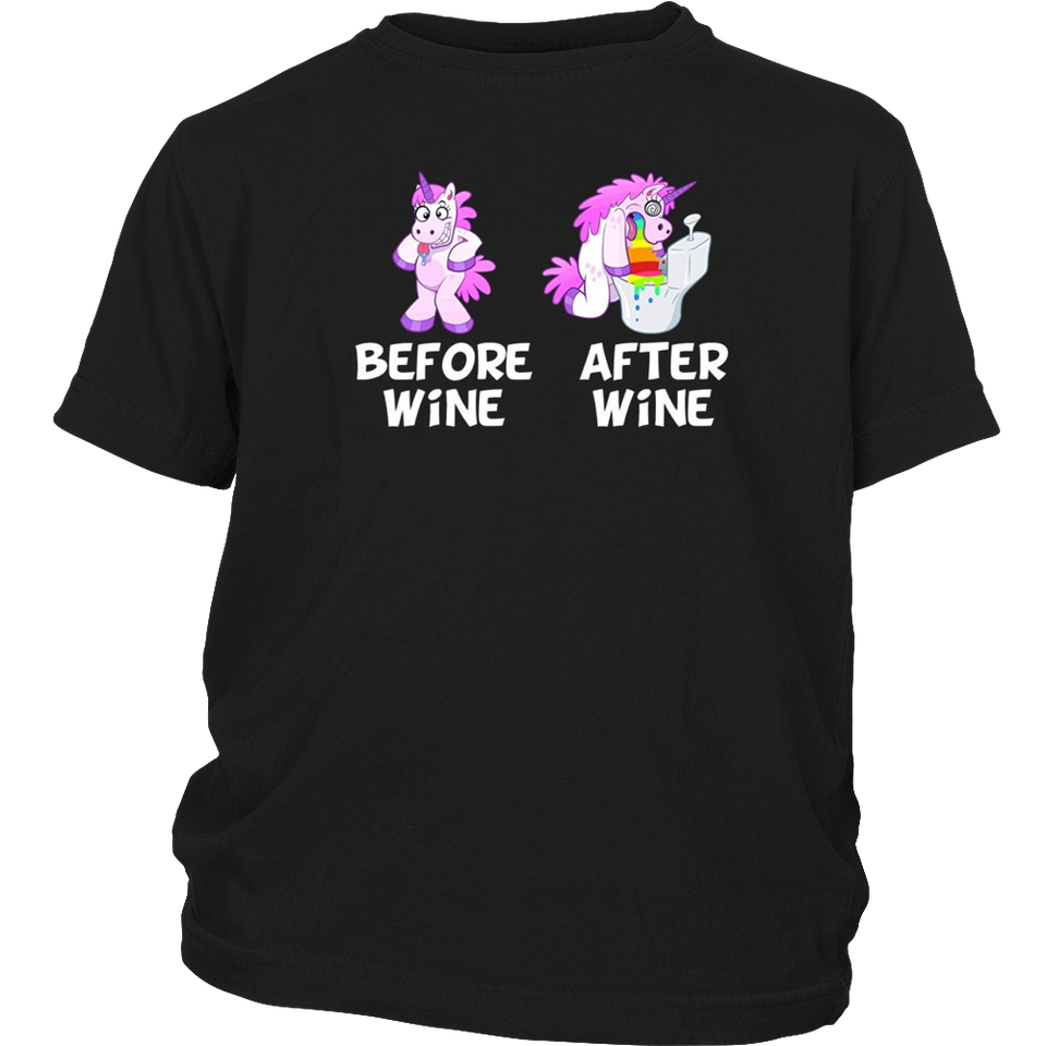 Before Wine & After Wine Funny Unicorn T-Shirt