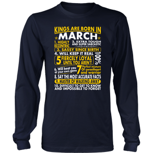 Sassy Loyal Kings Are Born In March Birth Month T-Shirt