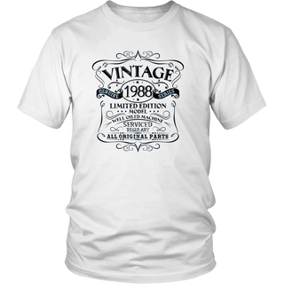 Vintage 30th Birthday Funny Tshirt 1988 All Original Parts