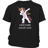 Awesome Since 2010 - Dabbing Unicorn 7th Birthday T-Shirt Hoodie - Tank-Top Quotes Hoodie