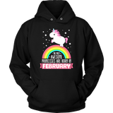 Birthday Unicorn Girl Princesses Born In February Gift T Shirt Quotes Hoodie