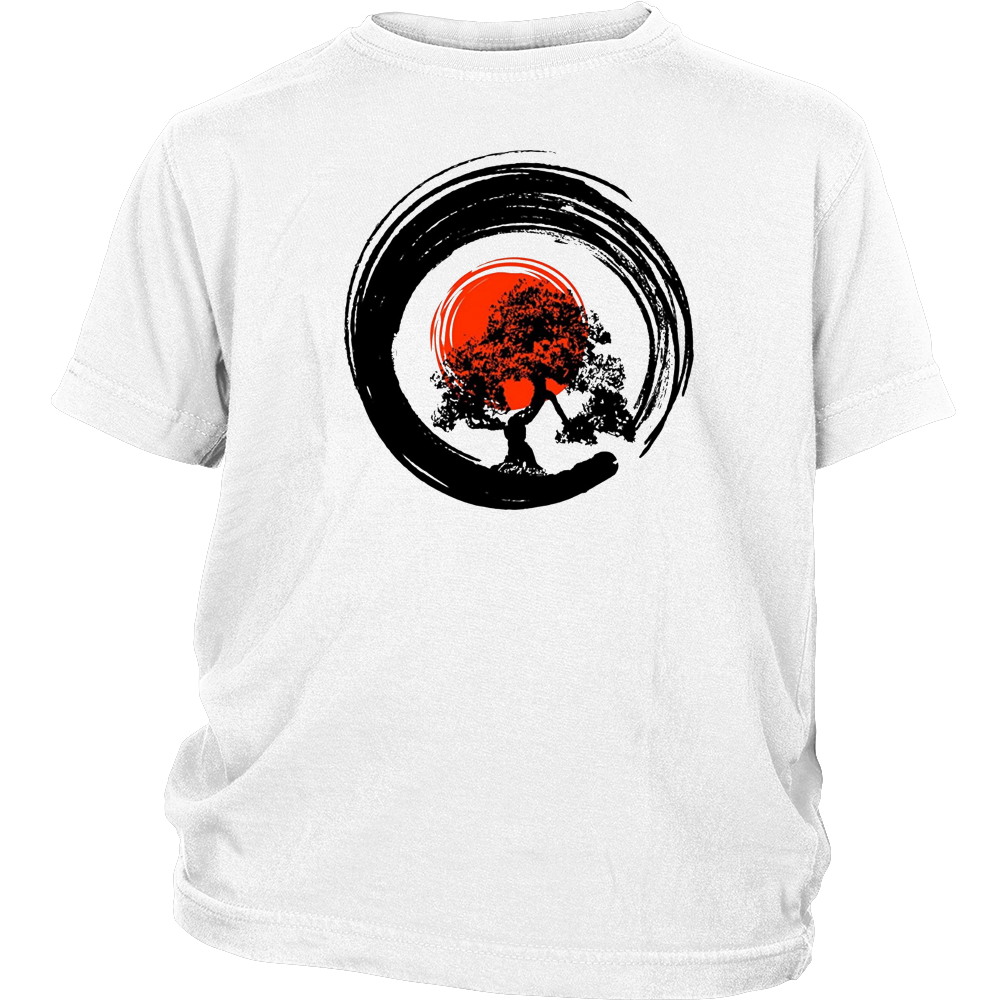 Bonsai Tree Japanese Calligraphy Rising Sun Zen T-Shirt