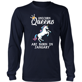 Unicorn Queens Are Born In January - Birthday Gift T-Shirt