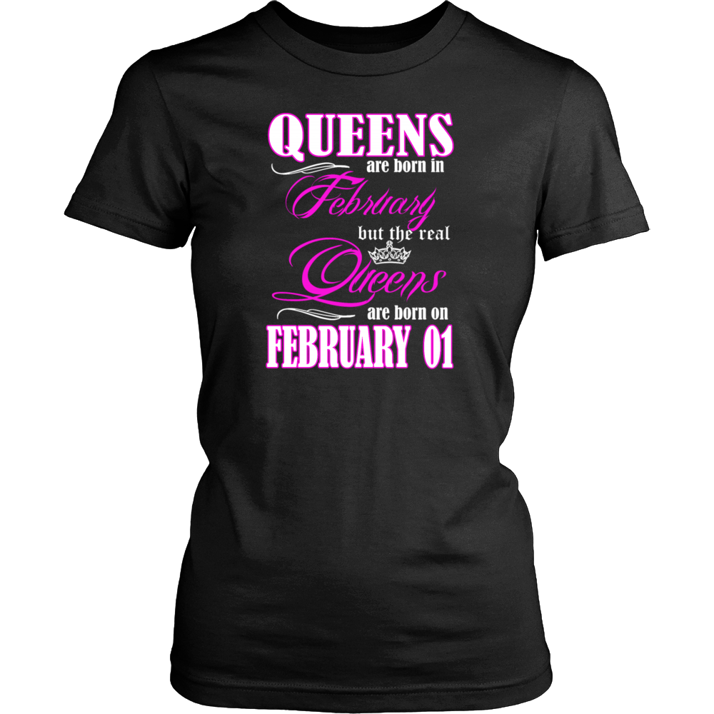 Birthday Queens Are Born On February 01 Men's Women's T Shirt