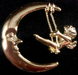 1970s Danecraft Moon & Cherub Brooch - Retro Kandy Vintage