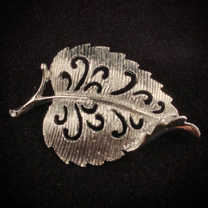 Late 50s/ Early 60s Gerry's Silver Leaf Brooch - Retro Kandy Vintage