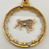 Late 60s/ Early 70s Art Taurus, Zodiac Pendant Necklace With Original Tags