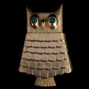 1969 Avon Jeweled Owl Brooch Perfume Glace