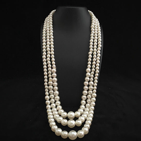 1960s Hong Kong 3-Strand White Faux Pearls