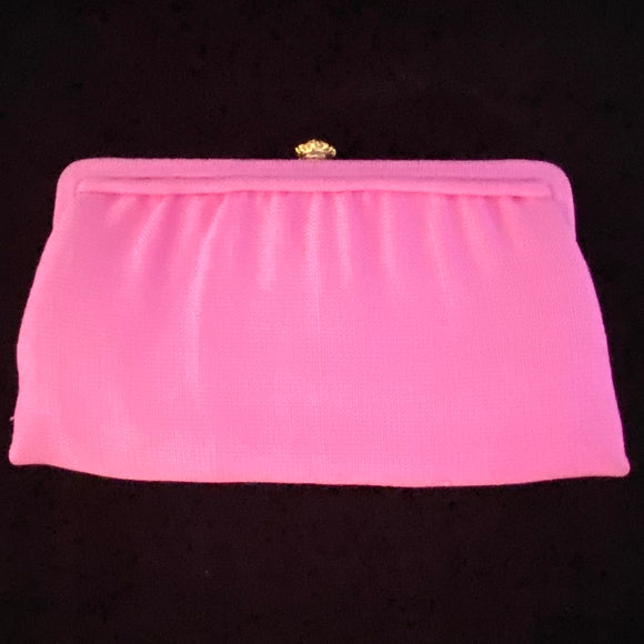 1960s HL Pink Fabric Clutch