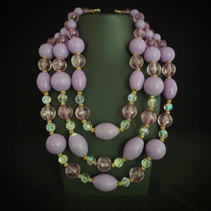 1960s Japan 3 Strand Lilac Purple Necklace
