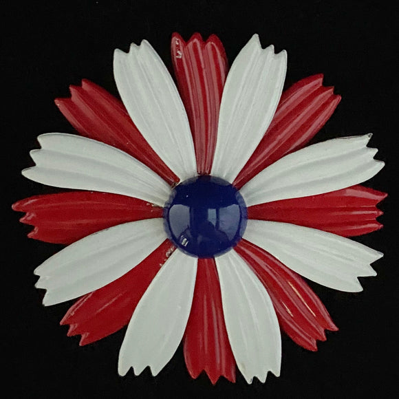 Late 60s/ Early 70s Large Enamel Flower Brooch - Retro Kandy Vintage