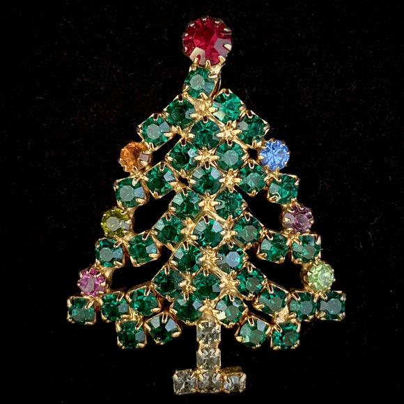 1950s Hobe Rhinestone Christmas Tree Pin - Retro Kandy Vintage