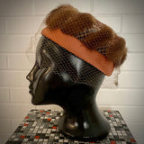 1950s Fur Embellished Pillbox Hat With Veil