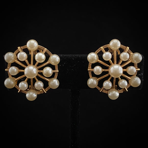 1960s Marvella Gold-Tone & Faux Pearl Earrings