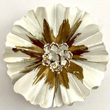 Late 60s/ Early 70s White & Gold Enamel Flower