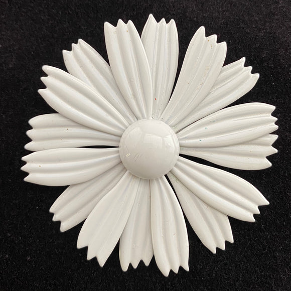 Late 60s/ Early 70s White Enamel Flower Brooch
