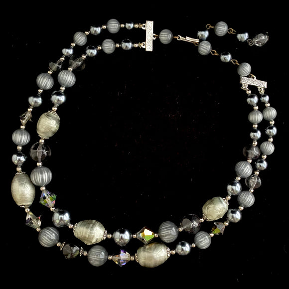 1960s 2 Strand Gray Bead Necklace