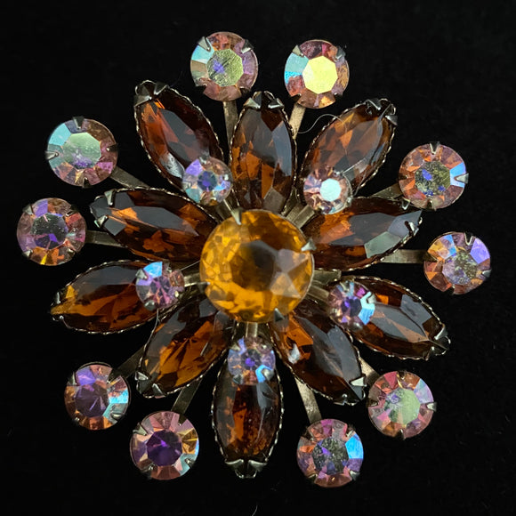Late 50s/ Early 60s Rhinestone & Aurora Borealis Flower Brooch