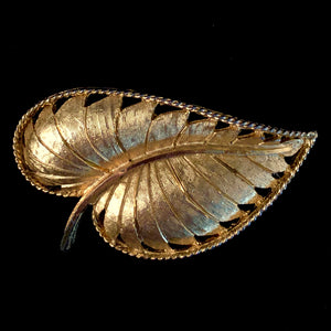 1960s BSK Gold-Tone Leaf Brooch