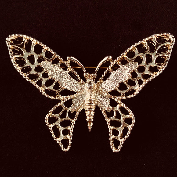 1971 Sarah Coventry Madam Butterfly Gold Brooch